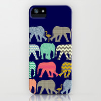 baby elephants and flamingos navy iPhone & iPod Case by Sharon Turner