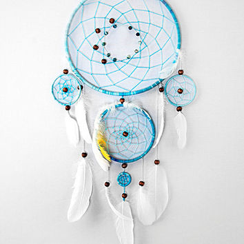Blue Dream Catcher, Large dreamcatcher ,Heavenly dream, Beads, Feathers