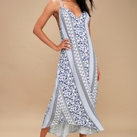 Swift and Shore Blue and White Print Midi Dress