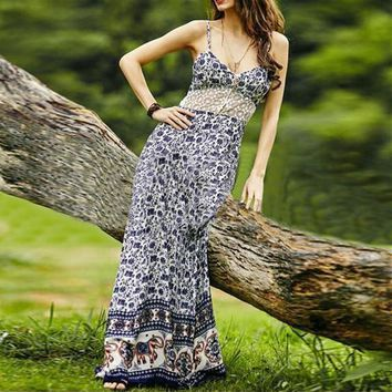 Fashion Elephant Pattern Print Lace Stitching V-Neck Backless Sleeveless Strap Maxi Dress