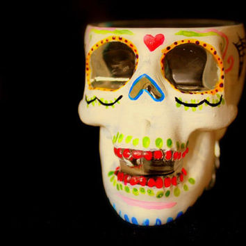 Hand Painted Skull Shot Glass Dia de los Muertos( Day of the Dead) Number 3