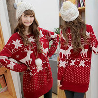 Casual Lovely Womens Christmas Deer Snow Pattern Knitting Sweaters Knitwear 15L