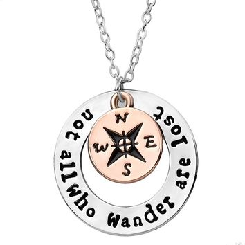 Wanderlust Hand stamped Travelers Compass Pendant Necklace