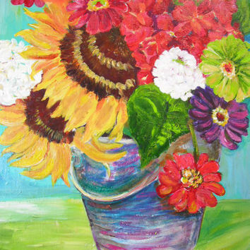 Colorful flowers, zinnias and sunflowers in metal bucket painting, Original ART, 16 x 20