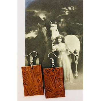 Cheyenne Hand Stamped Leather Earrings