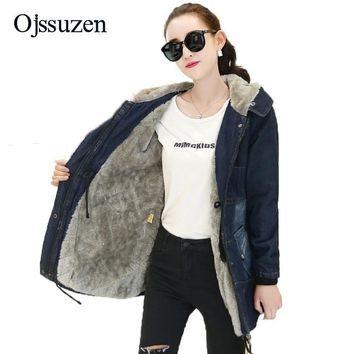 Trendy Winter Warm Cothes Women With Fur Hooded Jackets Denim Lambswool Winter Women's Thick Coat Zipper Slim Jackets Female Coat Parka AT_94_13
