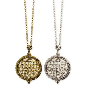 Antiqued Crystal Flower Magnifying Locket Necklace
