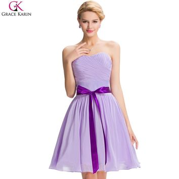Grace Karin Cheap Purple Bridesmaid Dresses A Line Modest Strapless Lace-up Wedding Events Guest Party Dress Short Prom Gowns