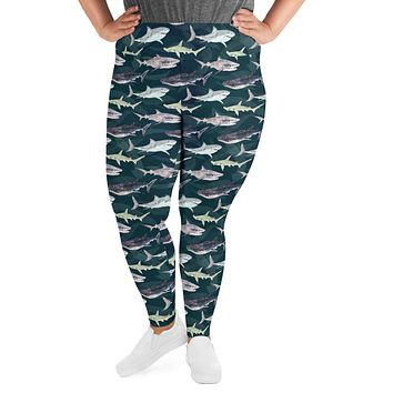 Womens Sea Sharks Pattern Plus Size Leggings with Great White Sharks, Whale Sharks and Hammerheads