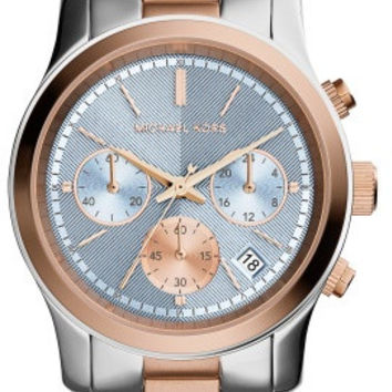 Michael Kors Jetset Ladies Two Tone Rose Chronograph Watch MK6166