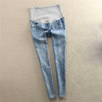 Pregnant women qiu dong thickening jeans pale blue foot trousers leisure fashion pregnant women pregnant women jeans trousers jeans = 1946689604