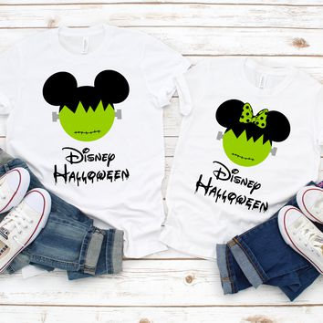Disney Halloween Frankenstein Shirts, Matching Vacation T-shirts, Mickey Minnie Not So Scary Party