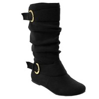 Brinley Co Women's Perth 05 WC Slouch Boot, Black Wide, 8 M US