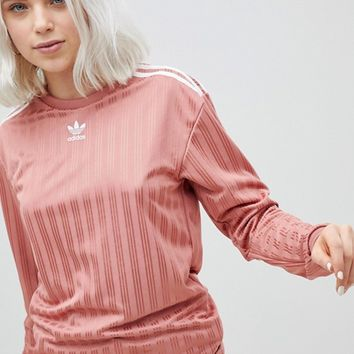 adidas Originals Three Stripe Long Sleeve Top In Pink at asos.com