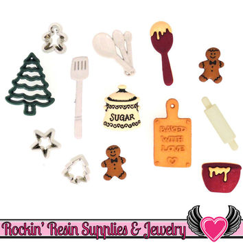 Jesse James Buttons 13pc CHRISTMAS COOKIES Baking Buttons