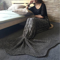 Knitted Mermaid Sofa Blanket Christmas Gift Autumn&Winter Grey