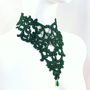 Emerald Green Bib Necklace - Lace Embroidery and Glass Bead - Women Jewelry, Prom, Spring, Ball, Statement, Romantic