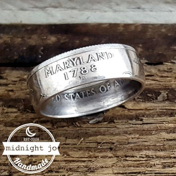 Maryland 90% Silver State Quarter Coin Ring