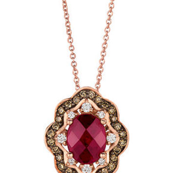 Le Vian 14k Rose Gold Necklace, Rhodolite (1-3/4 ct. t.w.) and Diamond and Chocolate Diamond (3/8 ct. t.w.) Oval Pendant - Necklaces - Jewelry & Watches - Macy's