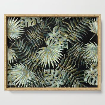Jungle Dark Tropical Leaves #decor #society6 #pattern #style by Menega Sabidussi