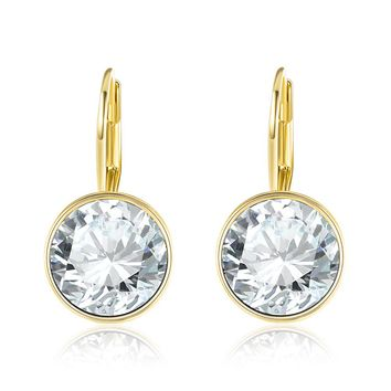 18K Gold Plated Swarovski Elements Classic Lever-back Earrings