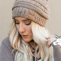 Knitted Confetti Beanie - Taupe