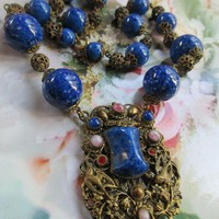Vintage 30s Czech Art Glass Necklace