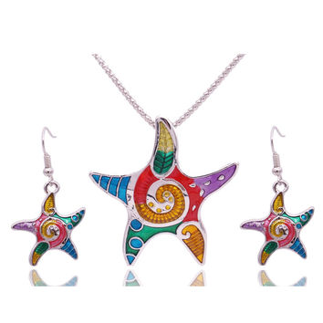 Fashion Enamel Starfish Jewelry Sets For Girls Animal Starfish Necklace Earring Set Vintage Ethnic Sea Jewelry
