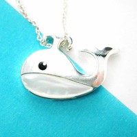 Whale Animal Pendant Necklace in Silver with Pearl Details