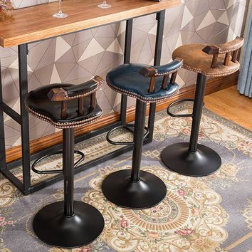 Rustic Wood Swivel Bar Stools with Backrest