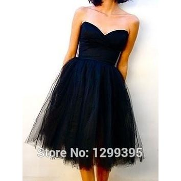 Short Dark Blue Cocktail Dresses Lace up Back New Cute Company Party Homecoming Dresses Prom  Vestidos Coctel Curto Cheap