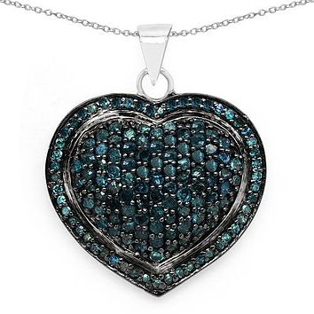 Ethically Mined Natural Blue Diamond Heart Pendant Necklace