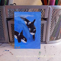Original ACEO Orcas/Killer Whales Marine Life Blackfish Ocean Painting