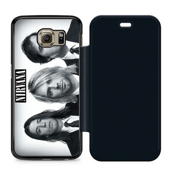 Nirvana Band Leather Wallet Flip Case Samsung Galaxy S6