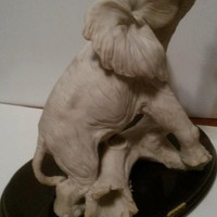 Vintage   Life Like SCULPTURE  Off White Alabaster Elephant On Wood Stand Signed A BELCARI Italy Sculpture Artistiche