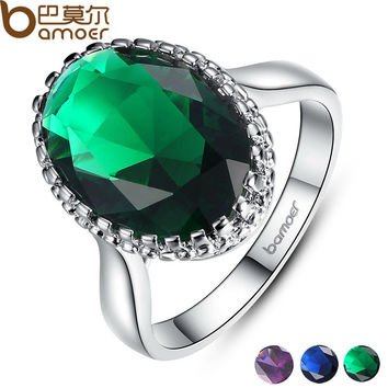 BAMOER Platinum Plated Elegant Green Big Stone Ring with Paved Created Gemstone Jewelry for Women Party and Wedding YIR182