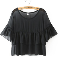 Black Ruffled Sleeve Tiered Cropped Top