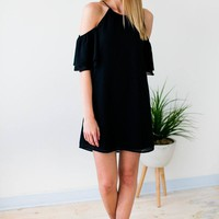 Consistent Legend Cold Shoulder Black Dress