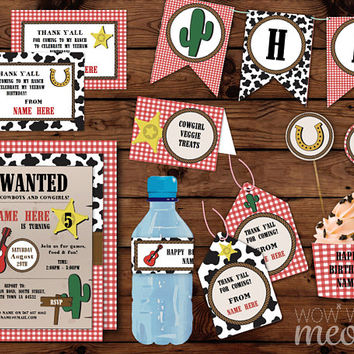COWBOY Birthday Party Red Check Package INSTANT DOWNLOAD Invitations Decorations Sherif Western Printable Collection Editable Personalize