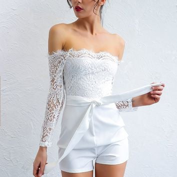 Lace Off The Shoulder Romper