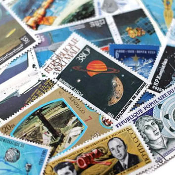 Space Astronaut Satellite Print Postage Stamps Set of 15 - All Different - Shuttle, Moon, Jupiter, Planets, Altered Art, DeStash Paper Lot