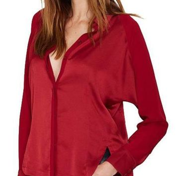 Solid Color Fashion Shirts Long Sleeve Turn-down Collar Female Tops Slim Single Buttoned High Low Blouse