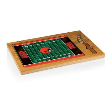 Cleveland Browns - Icon Glass Top Serving Tray & Knife Set (Football Design)