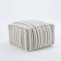 NWT West Elm Deck Stripe Pouf cover gray