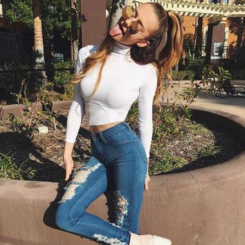 Women All-match Simple Solid Color Long Sleeve Turtleneck Tight T-shirt Crop Top