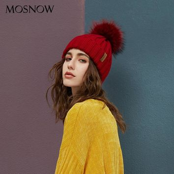 Real Raccoon Fur Pom Poms Beanies Winter Hat Female For Women Knitted Cotton Thick Cap New Fashion Warm Beanie Hot Selling