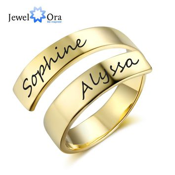 Personalized Gift Customize Engraved Name Stainless Steel Adjustable Rings For Women Anniversary Jewelry (JewelOra RI102973)