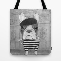 French Bulldog. (black and white version) Tote Bag by Barruf