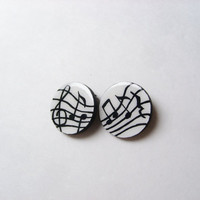 G Clef Music Stud Earrings - Musical Notes Mismatched Earring Set, Black and White Wooden Jewelry