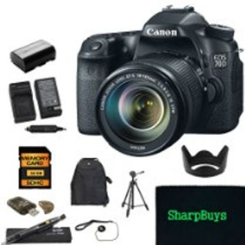 Canon EOS 70D with Canon EF-S 18-135mm f/3.5-5.6 IS STM Lens + Deluxe SharpBuys package includes: Canon EOS 70D Camera body + Canon EF-S 18-135mm f/3.5-5.6 IS STM Lens + 1x SD 16GB High Speed Error free memory cards + High Speed Card Reader + 1x 5 Hour Hig